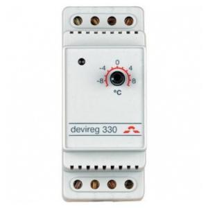 Терморегулятор DEVIreg 330 предназначен для защиты от замерзания, в системах стаивания снега. Для крепления на профиль DIN.