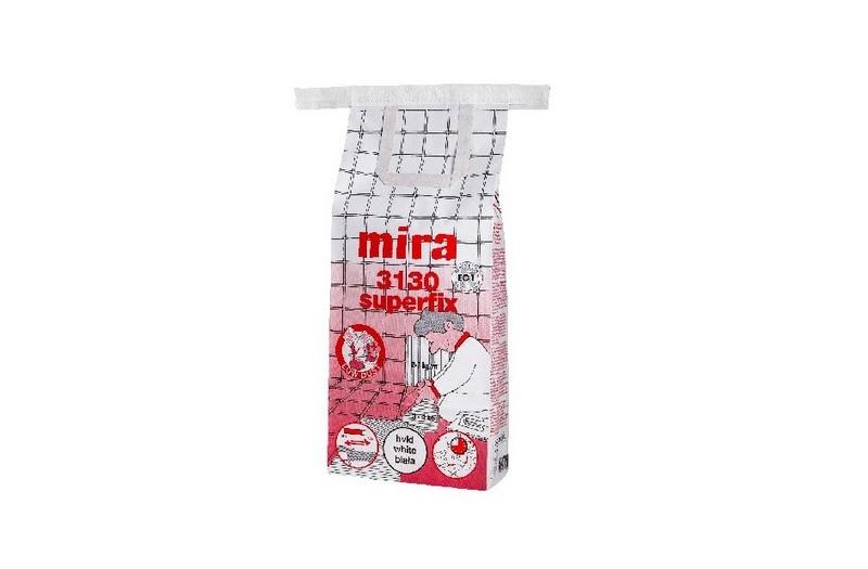 Mira 3130 superfix — усиленный полимерами белый клей для укладки плитки на пол и стены внутри и снаружи помещений.
