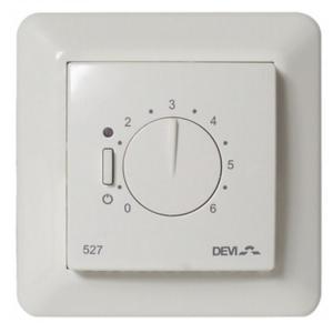 DEVIreg 527 – электронный регулятор мощности. Применяется там, где невозможно установить или заменить датчик температуры пола на проводе.