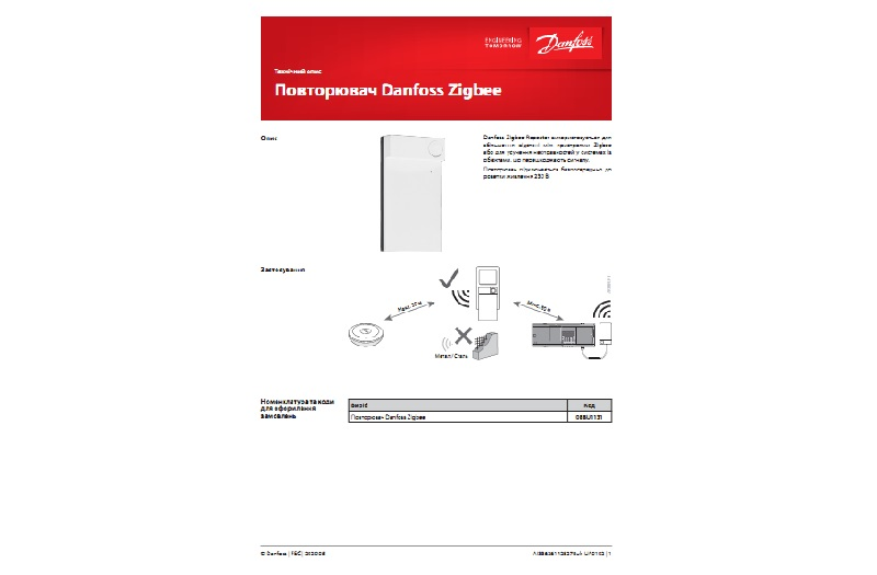 Техническое описание на повторитель Danfoss Zigbee Repeater